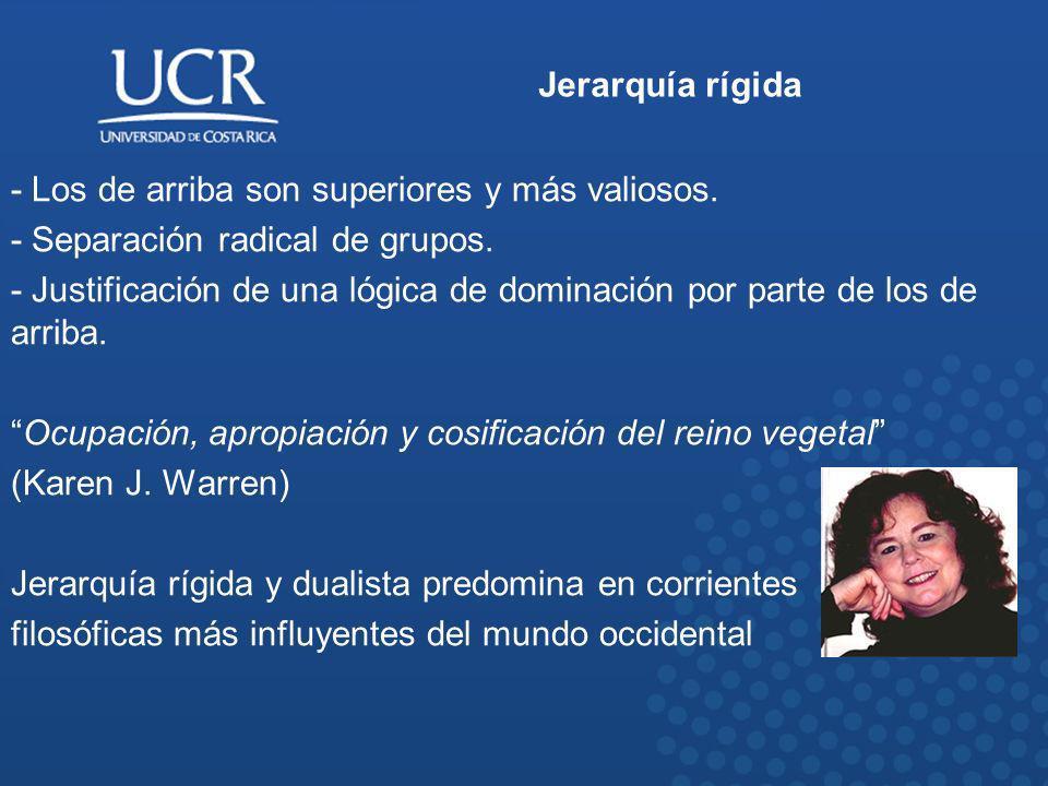 Jerarquía rígida - Los de arriba son superiores y más valiosos. - Separación radical de grupos.