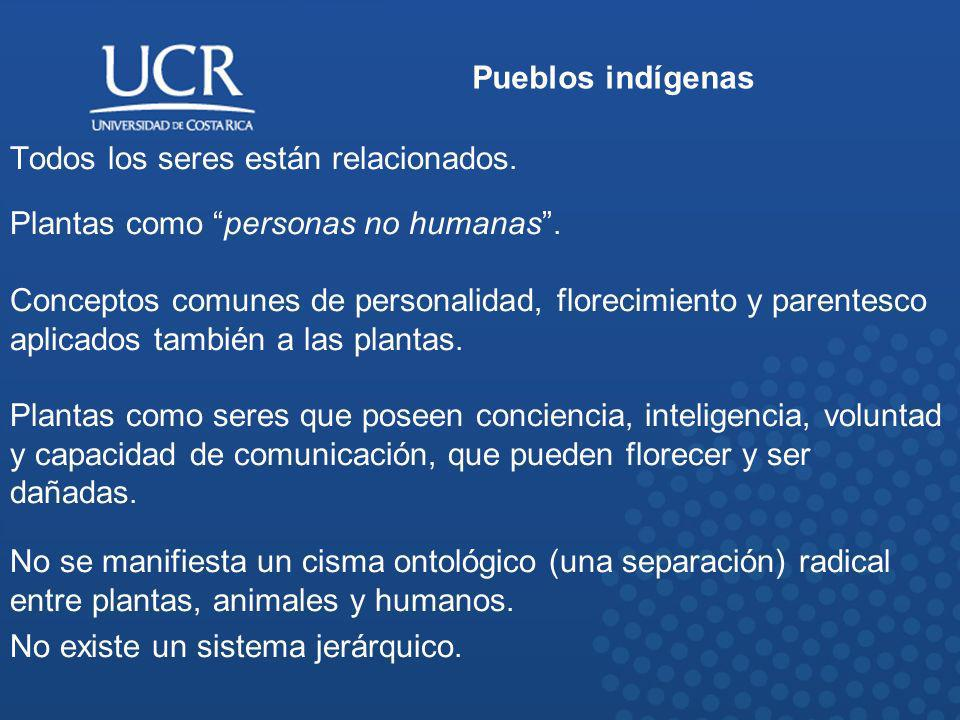 Pueblos indígenas Todos los seres están relacionados. Plantas como personas no humanas .