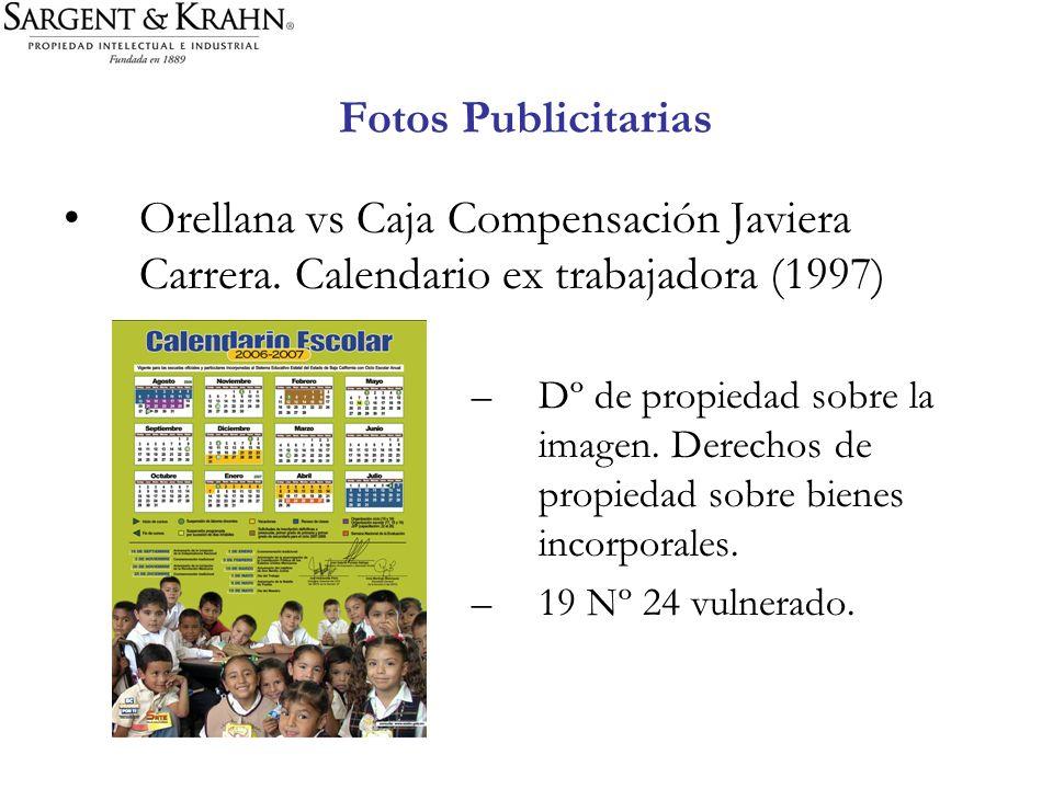 Fotos Publicitarias Orellana vs Caja Compensación Javiera Carrera. Calendario ex trabajadora (1997)