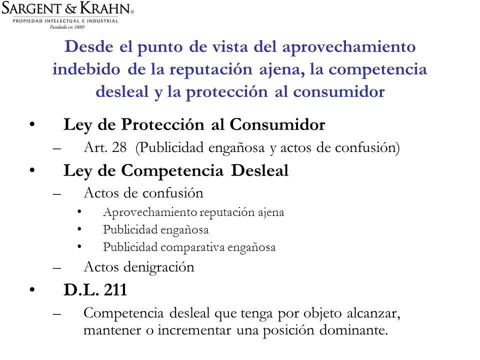 Ley de Protección al Consumidor Ley de Competencia Desleal
