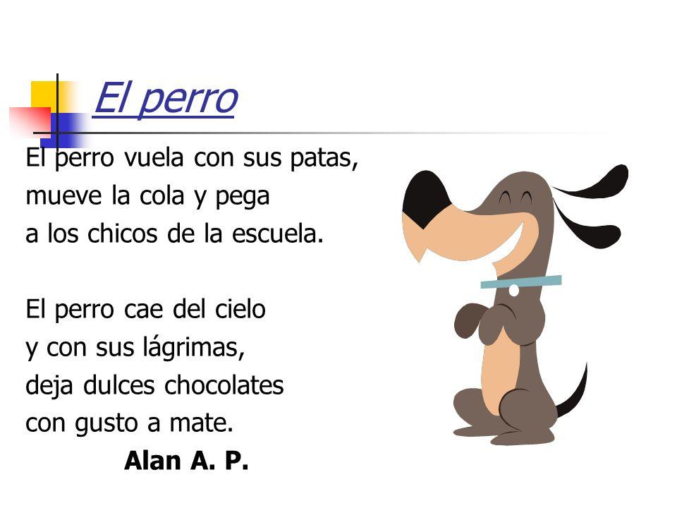 El perro El perro vuela con sus patas, mueve la cola y pega