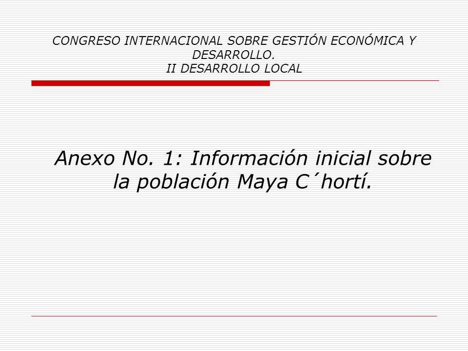 Anexo No. 1: Información inicial sobre la población Maya C´hortí.