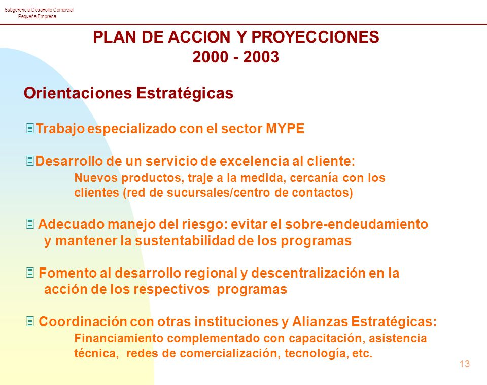 PLAN DE ACCION Y PROYECCIONES Orientaciones Estratégicas