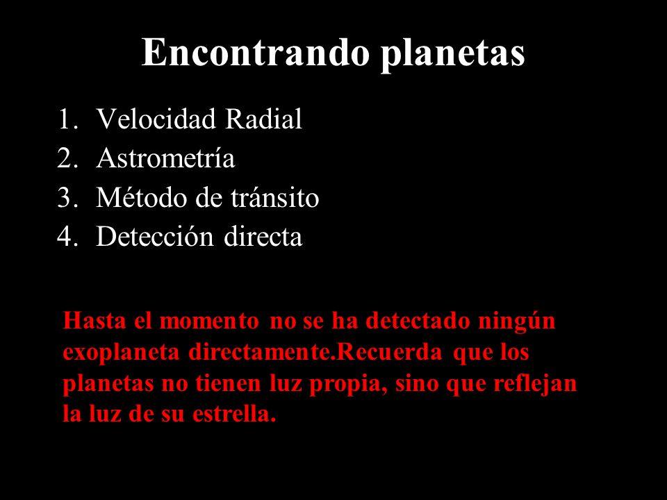 Encontrando planetas Velocidad Radial Astrometría Método de tránsito