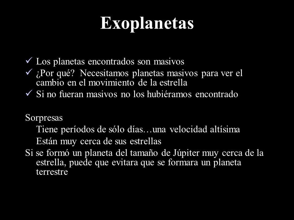 Exoplanetas Los planetas encontrados son masivos