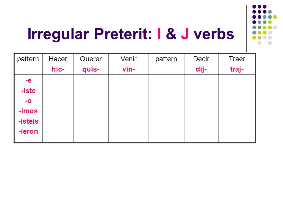 Irregular Preterit: I & J verbs