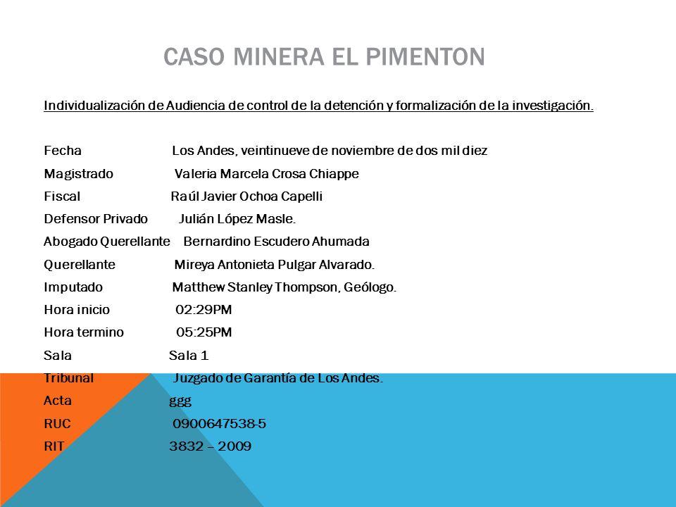 CASO MINERA EL PIMENTON