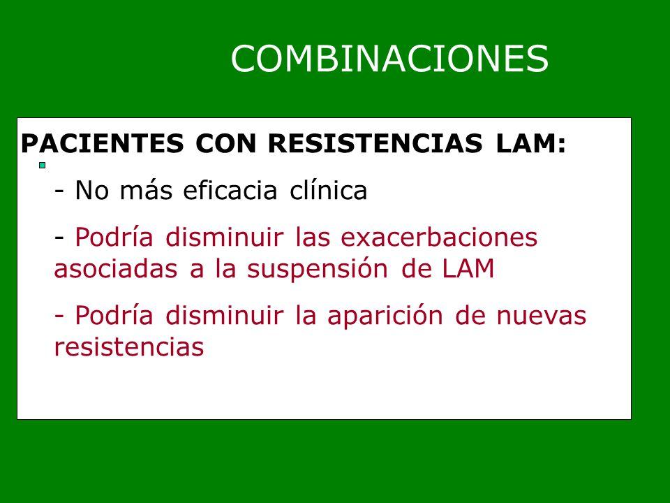 COMBINACIONES PACIENTES CON RESISTENCIAS LAM: No más eficacia clínica