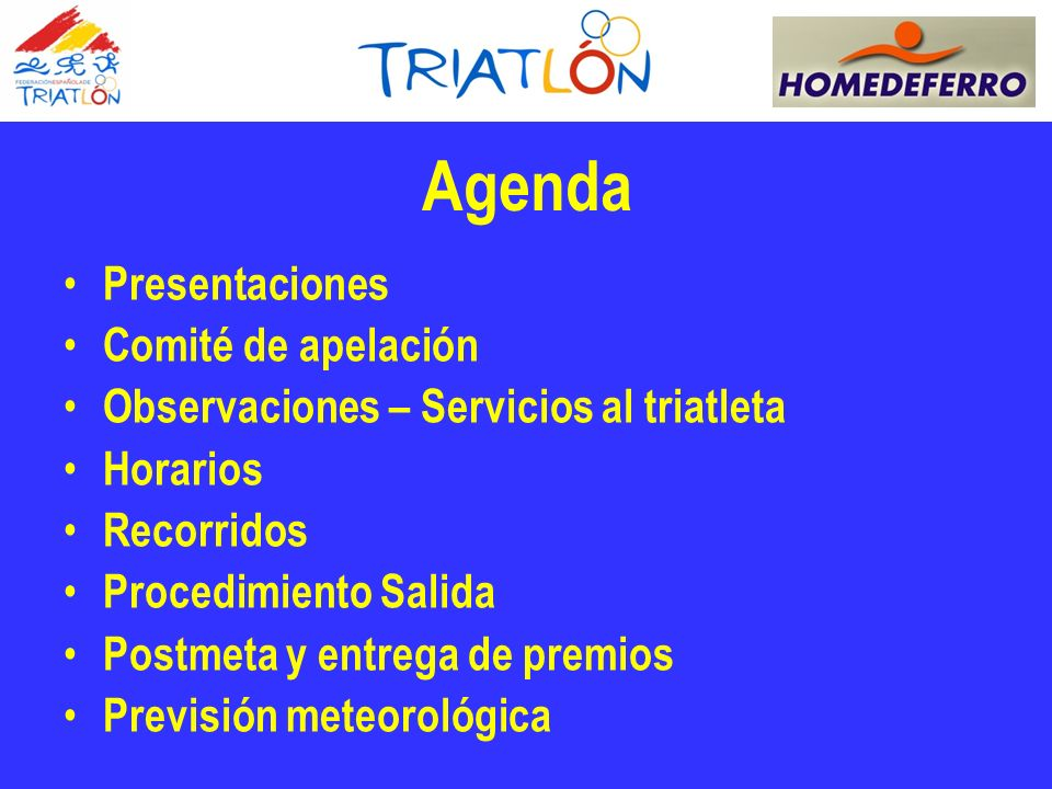 Agenda Presentaciones Comité de apelación