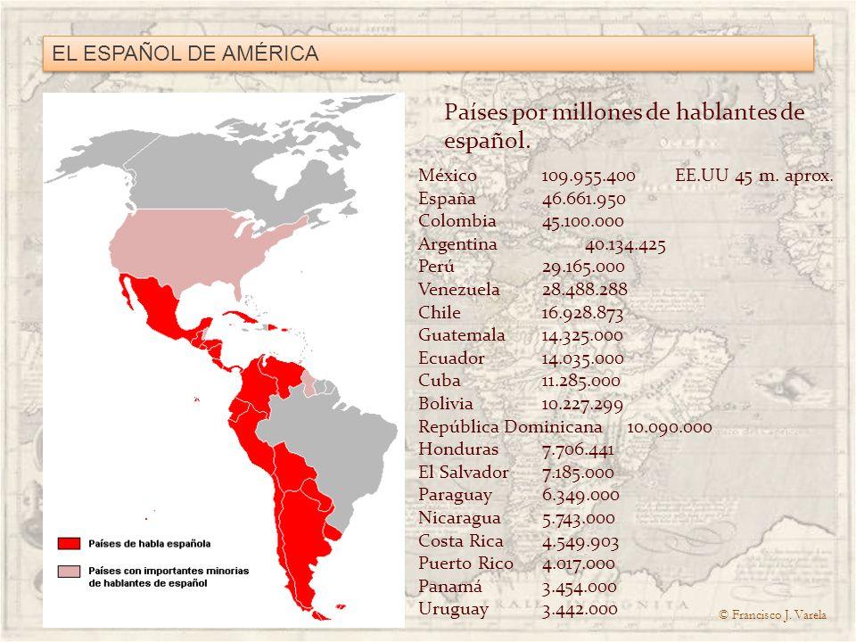 Países por millones de hablantes de español.