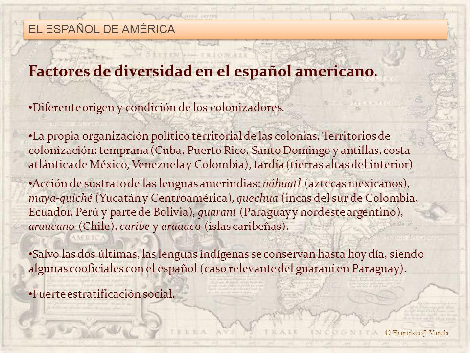Factores de diversidad en el español americano.