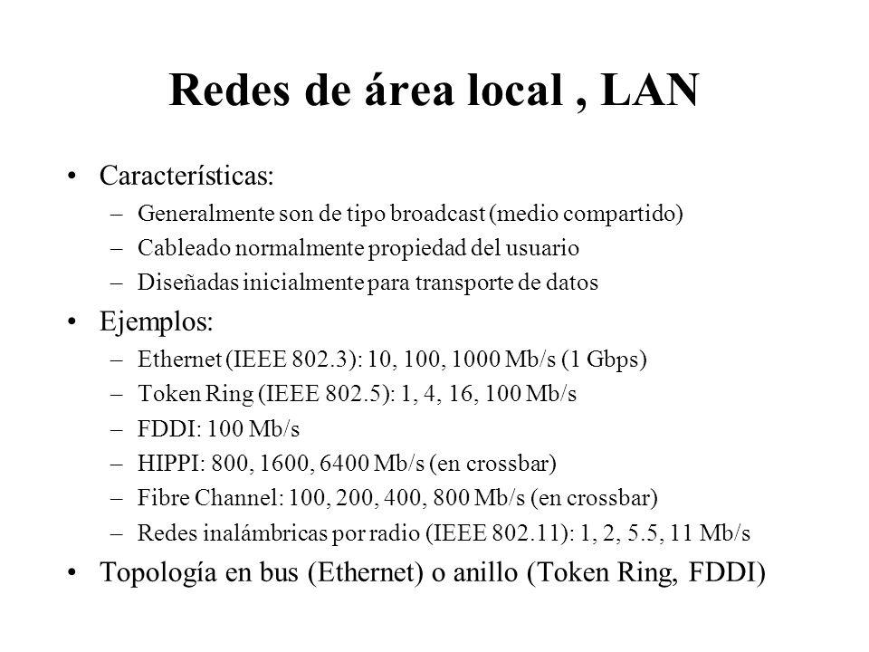 Redes de área local , LAN Características: Ejemplos:
