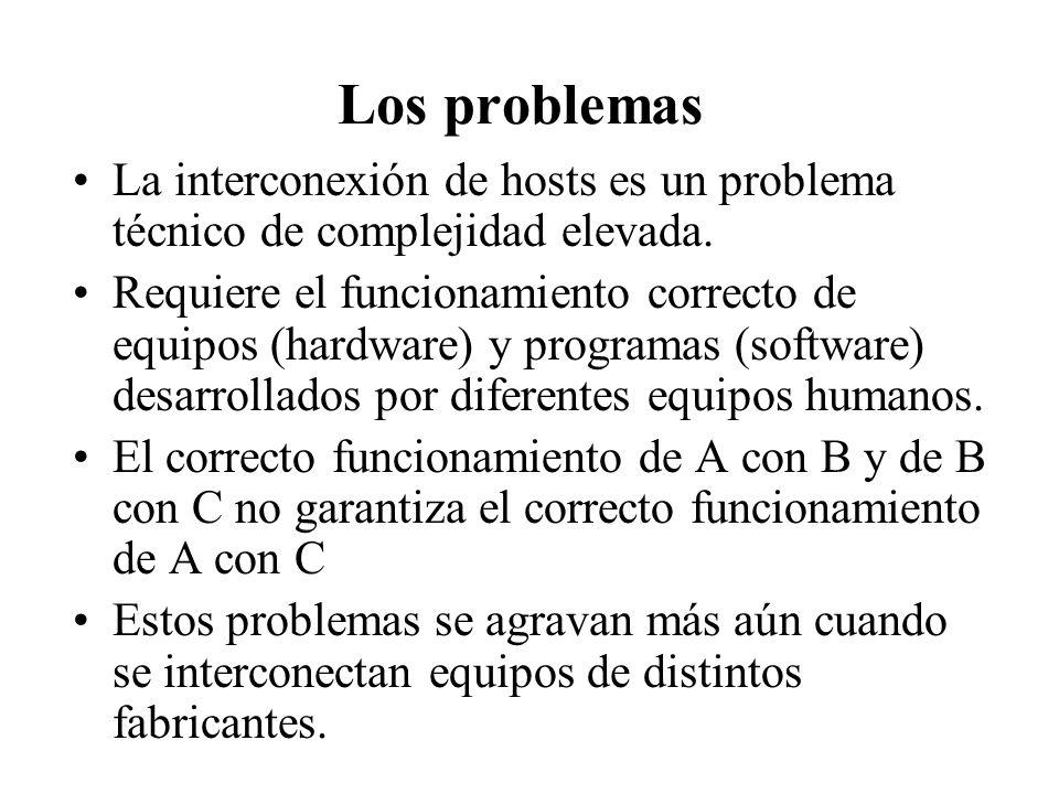 Los problemas La interconexión de hosts es un problema técnico de complejidad elevada.