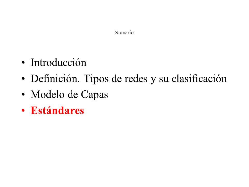 Definición. Tipos de redes y su clasificación Modelo de Capas