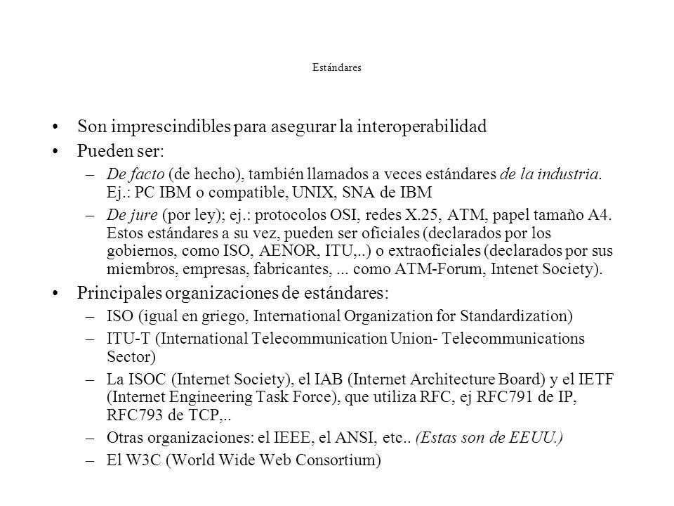 Son imprescindibles para asegurar la interoperabilidad Pueden ser: