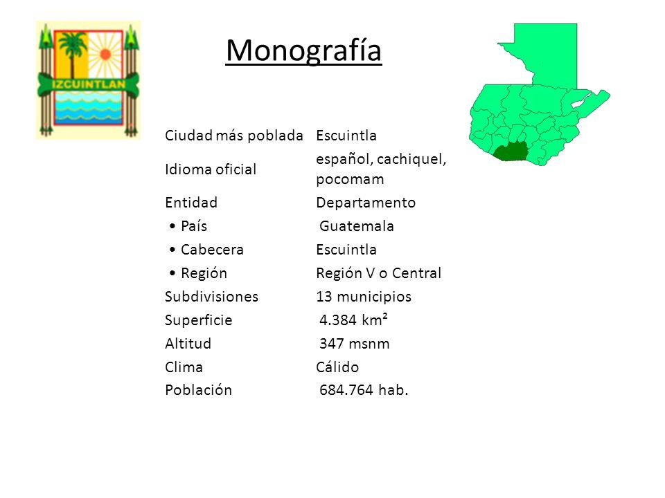 Monografía Ciudad más poblada Escuintla Idioma oficial