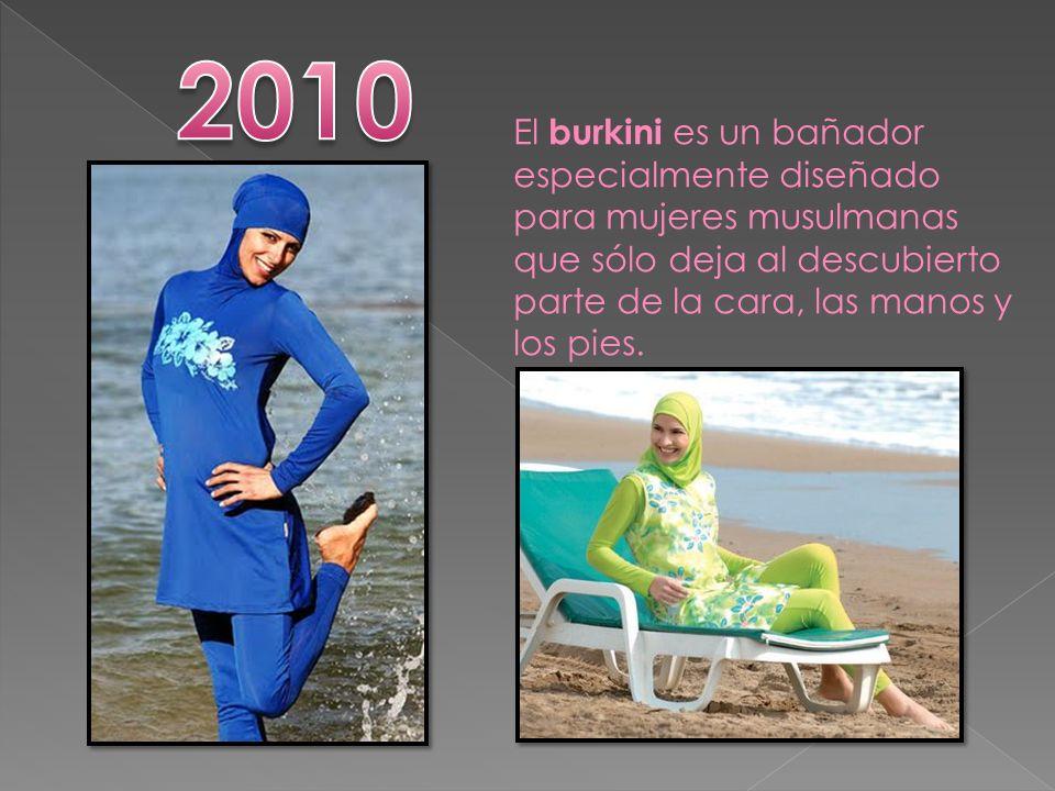2010 El burkini es un bañador especialmente diseñado para mujeres musulmanas que sólo deja al descubierto parte de la cara, las manos y los pies.