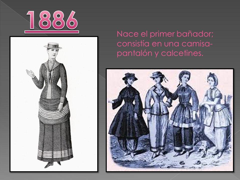 1886 Nace el primer bañador; consistía en una camisa-pantalón y calcetines.