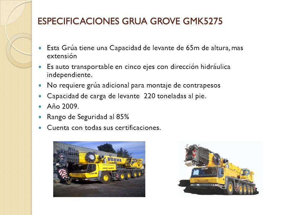 ESPECIFICACIONES GRUA GROVE GMK5275