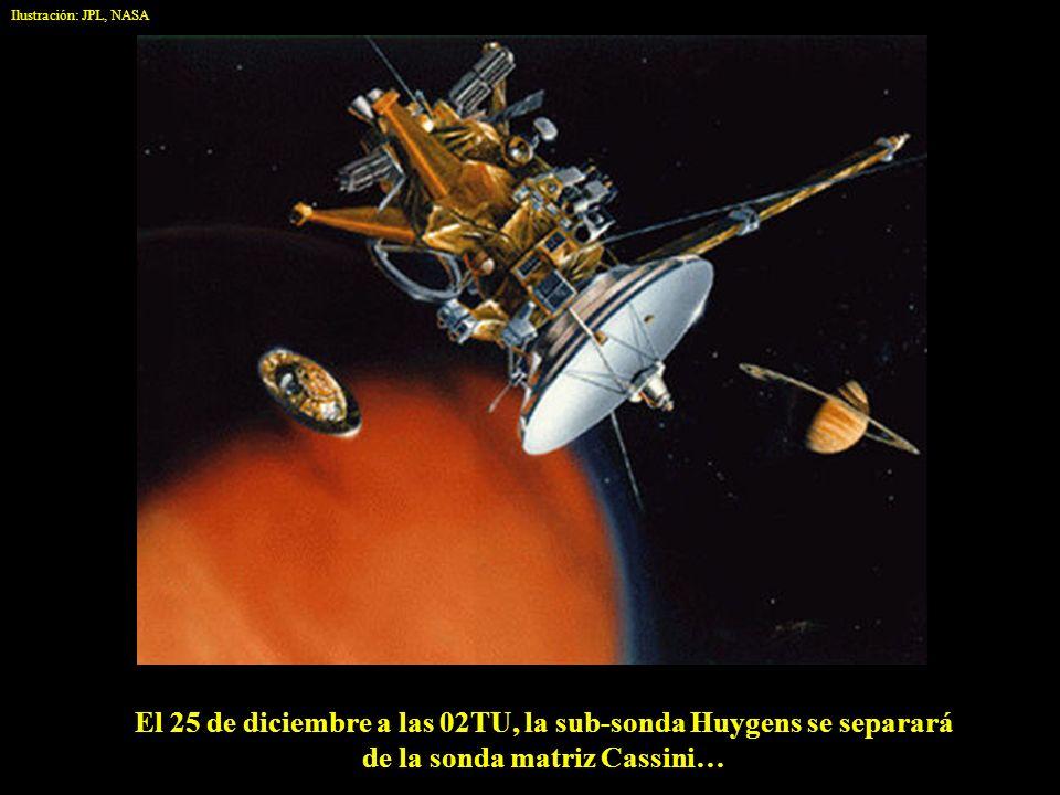 Ilustración: JPL, NASA El 25 de diciembre a las 02TU, la sub-sonda Huygens se separará de la sonda matriz Cassini…