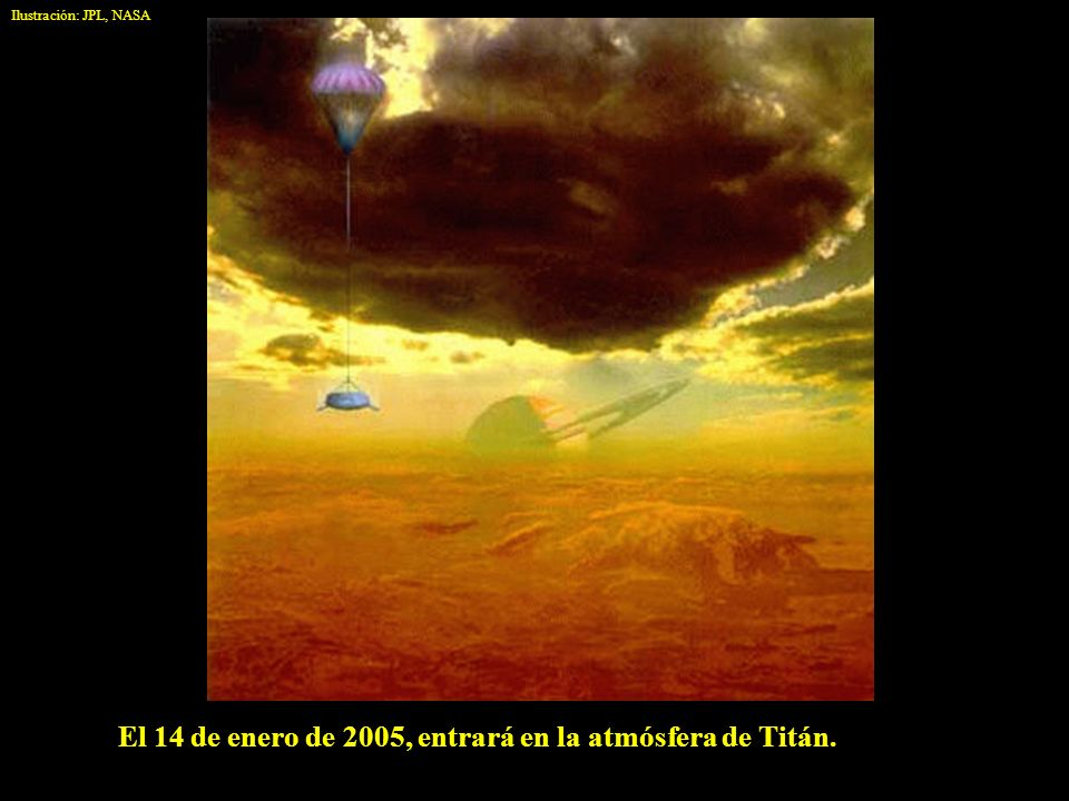 El 14 de enero de 2005, entrará en la atmósfera de Titán.