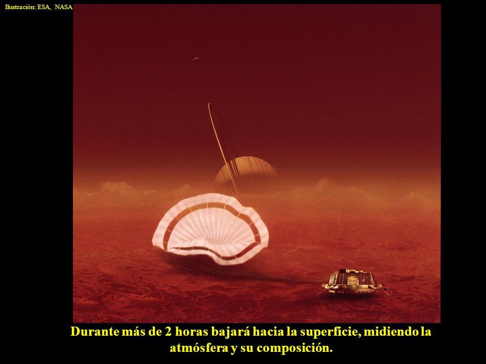 Ilustración: ESA, NASA Durante más de 2 horas bajará hacia la superficie, midiendo la atmósfera y su composición.