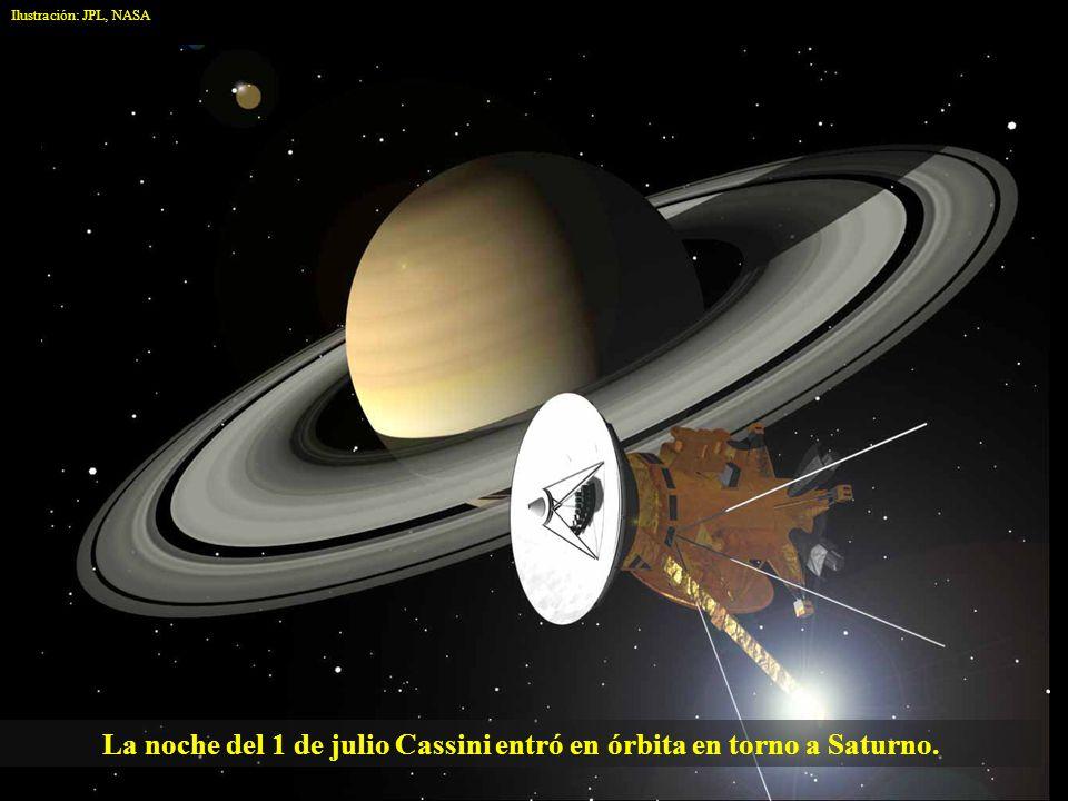 La noche del 1 de julio Cassini entró en órbita en torno a Saturno.