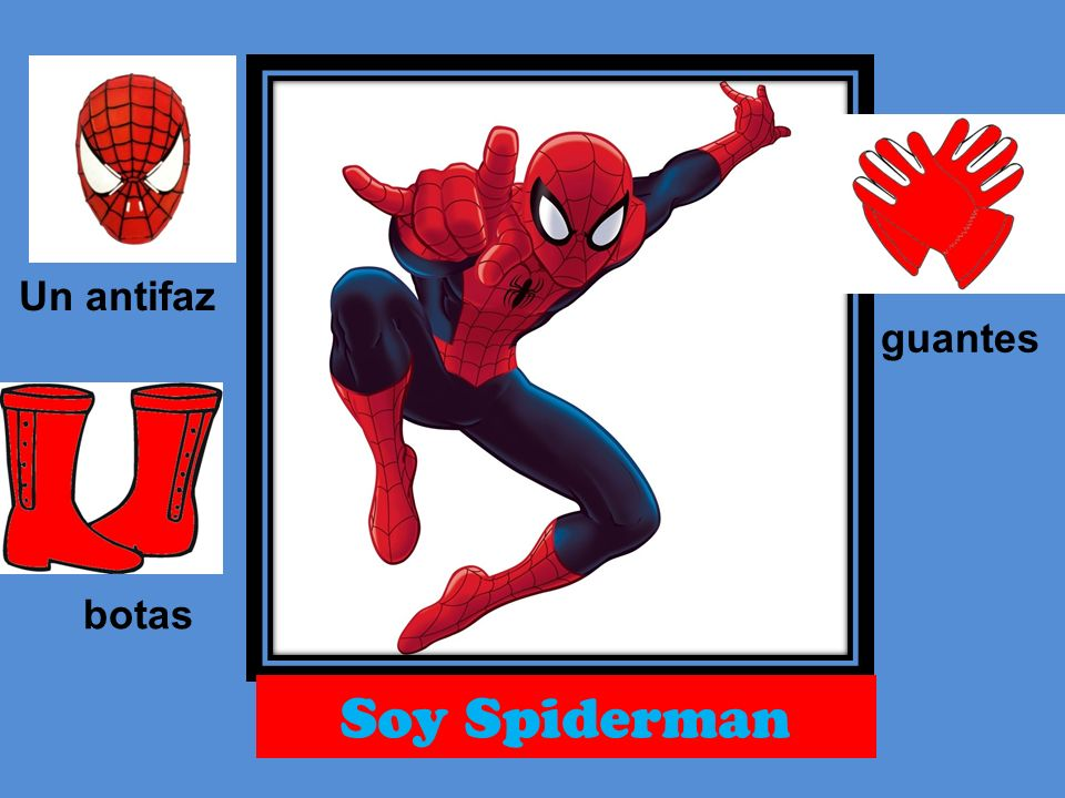 Un antifaz guantes botas Soy Spiderman
