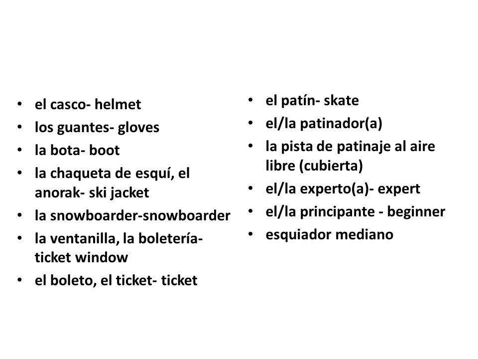 el patín- skate el/la patinador(a) la pista de patinaje al aire libre (cubierta) el/la experto(a)- expert.