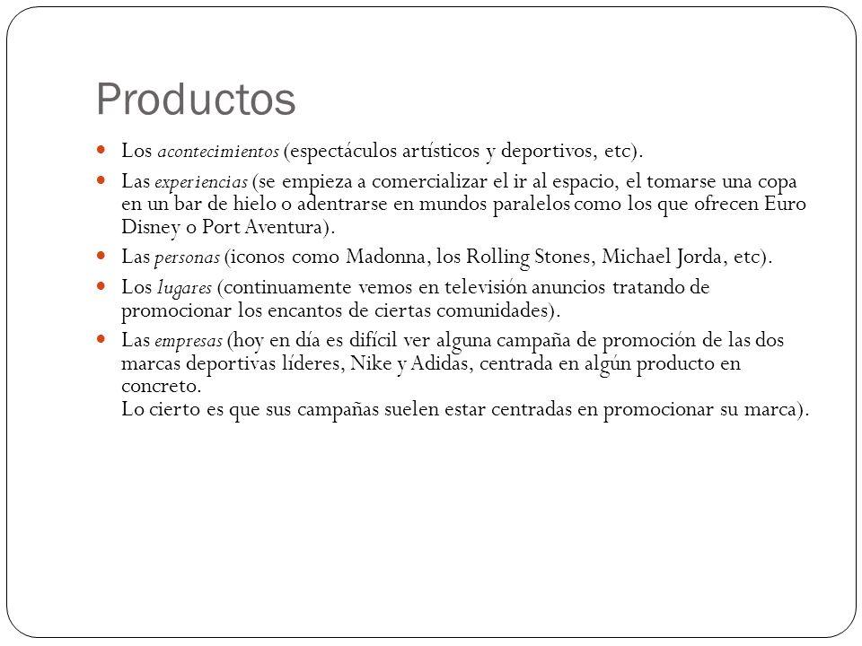 Productos Los acontecimientos (espectáculos artísticos y deportivos, etc).