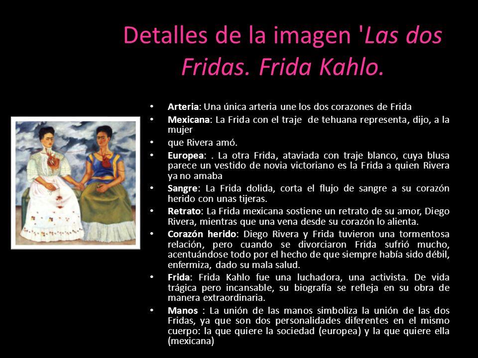 Detalles de la imagen Las dos Fridas. Frida Kahlo.