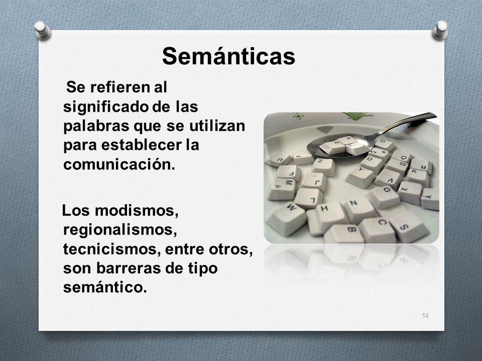 SemánticasSe refieren al significado de las palabras que se utilizan para establecer la comunicación.