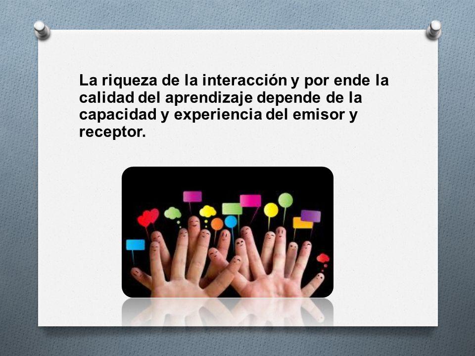 La riqueza de la interacción y por ende la calidad del aprendizaje depende de la capacidad y experiencia del emisor y receptor.