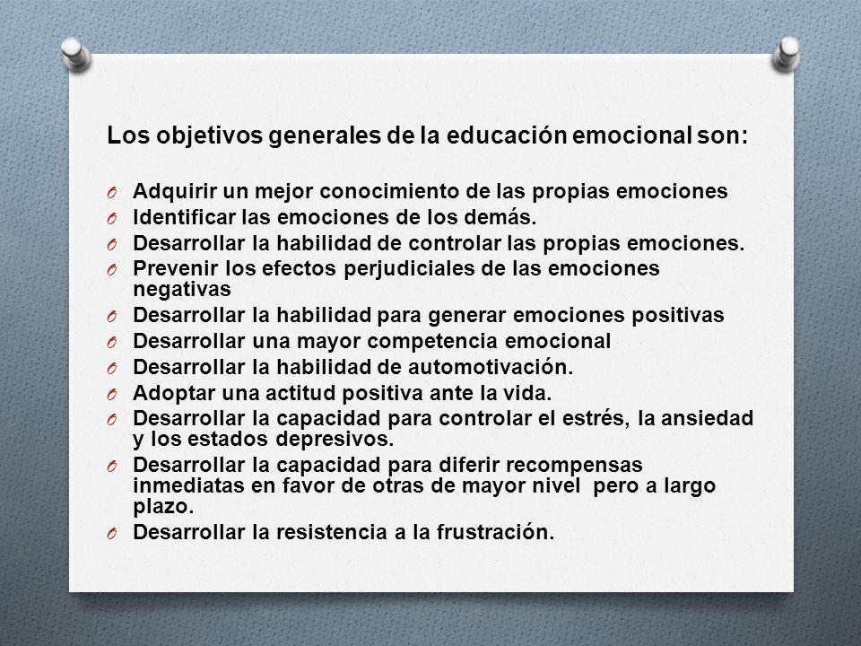 Los objetivos generales de la educación emocional son: