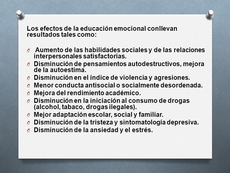 Los efectos de la educación emocional conllevan resultados tales como: