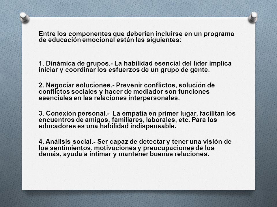 Entre los componentes que deberían incluirse en un programa de educación emocional están las siguientes:
