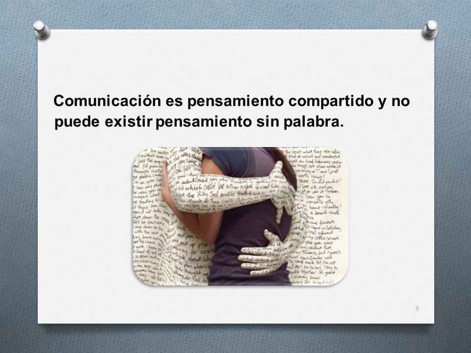 Comunicación es pensamiento compartido y no puede existir pensamiento sin palabra.