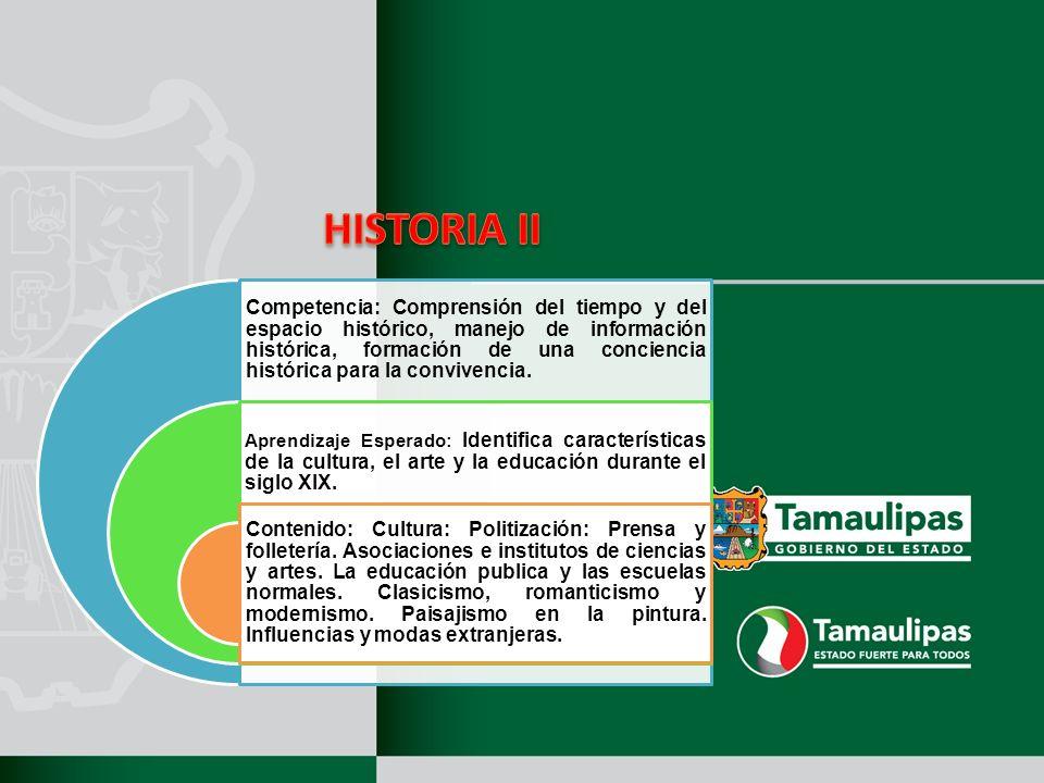 Competencia: Comprensión del tiempo y del espacio histórico, manejo de información histórica, formación de una conciencia histórica para la convivencia.