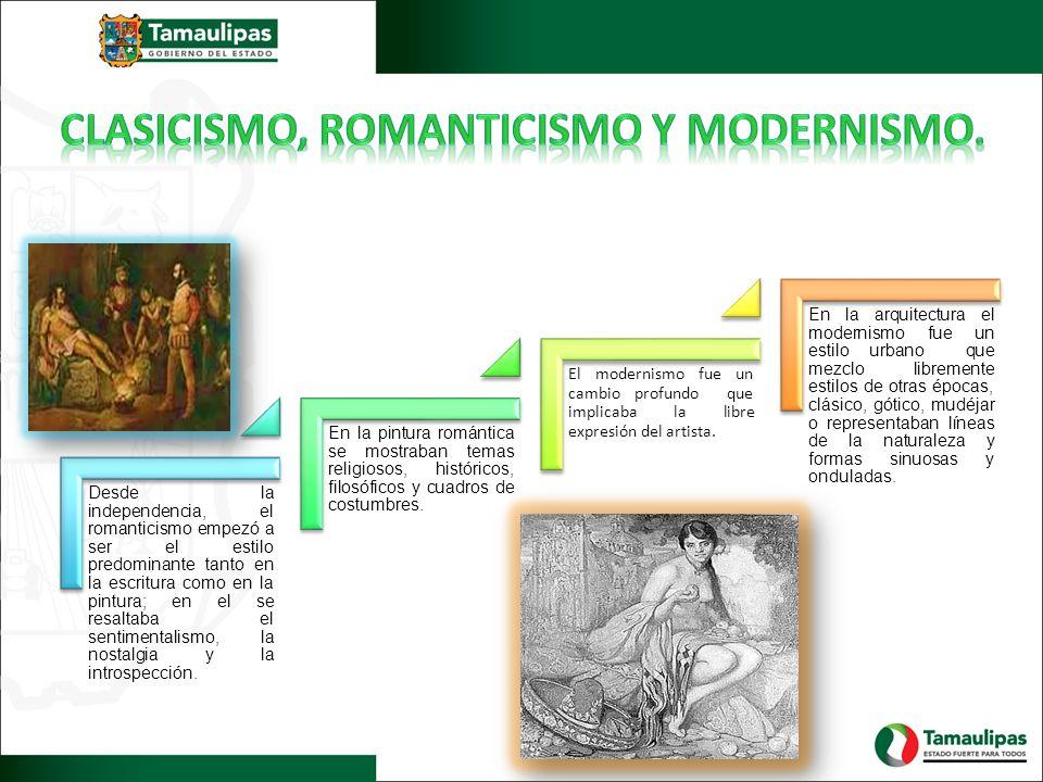Clasicismo, romanticismo y modernismo.