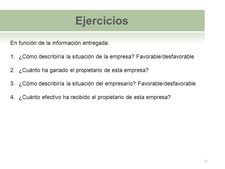 Ejercicios En función de la información entregada: