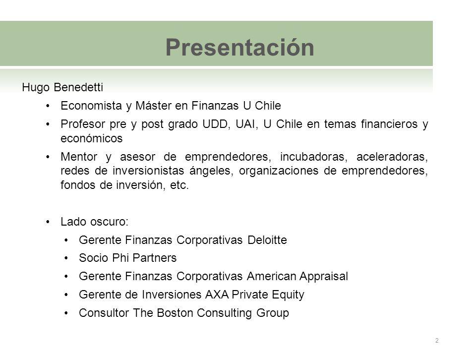 Presentación Hugo Benedetti Economista y Máster en Finanzas U Chile