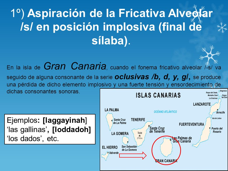 1º) Aspiración de la Fricativa Alveolar /s/ en posición implosiva (final de sílaba).