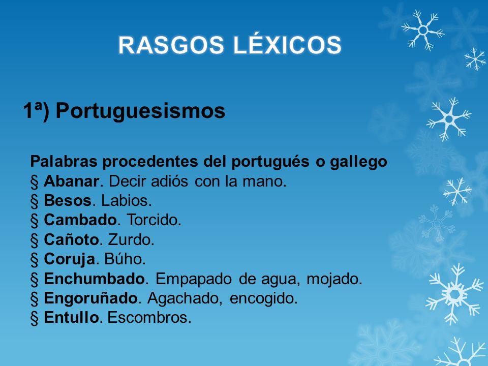 RASGOS LÉXICOS 1ª) Portuguesismos
