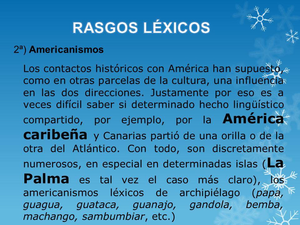 RASGOS LÉXICOS 2ª) Americanismos