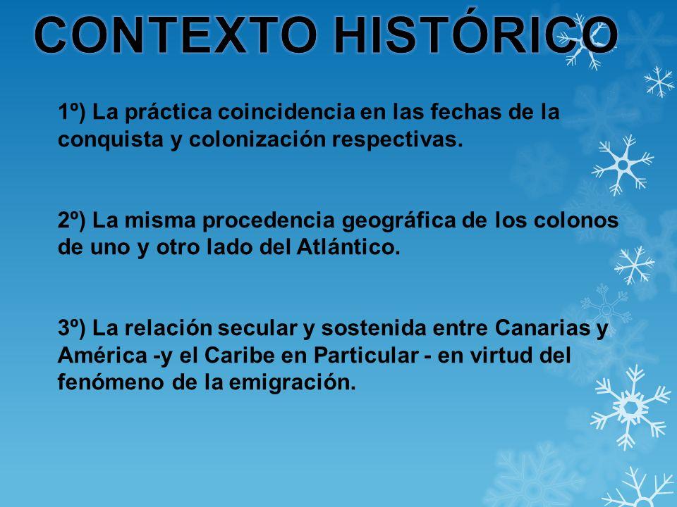 CONTEXTO HISTÓRICO 1º) La práctica coincidencia en las fechas de la conquista y colonización respectivas.
