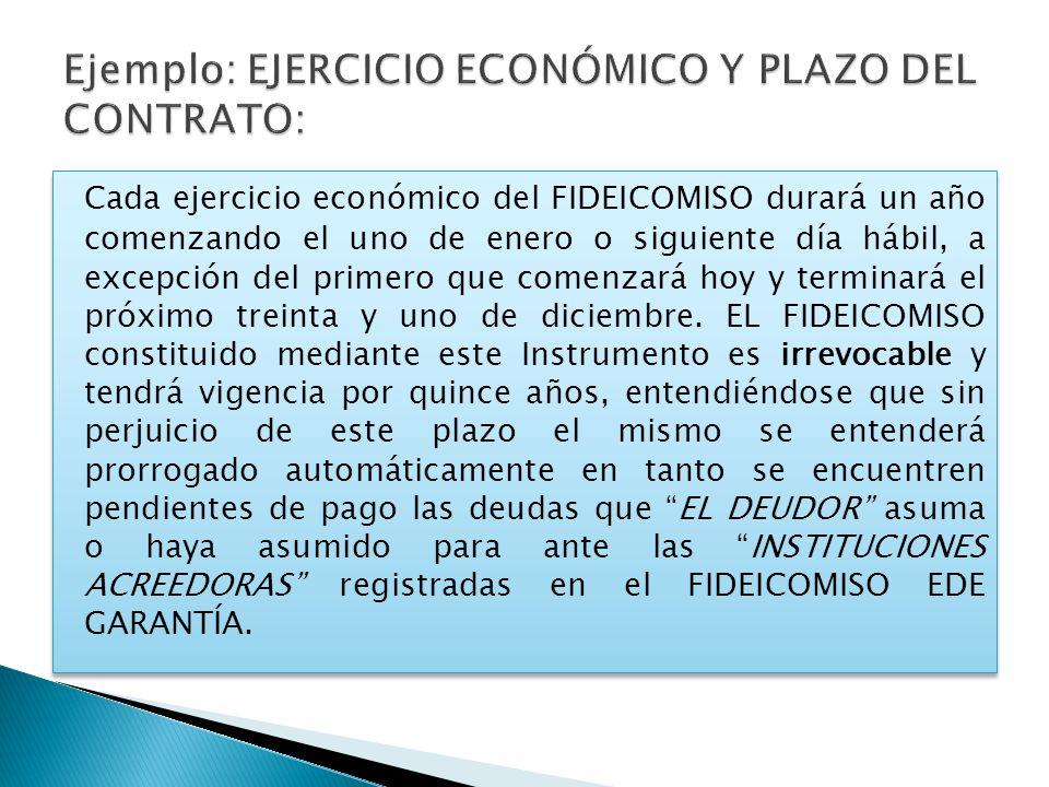 Ejemplo: EJERCICIO ECONÓMICO Y PLAZO DEL CONTRATO: