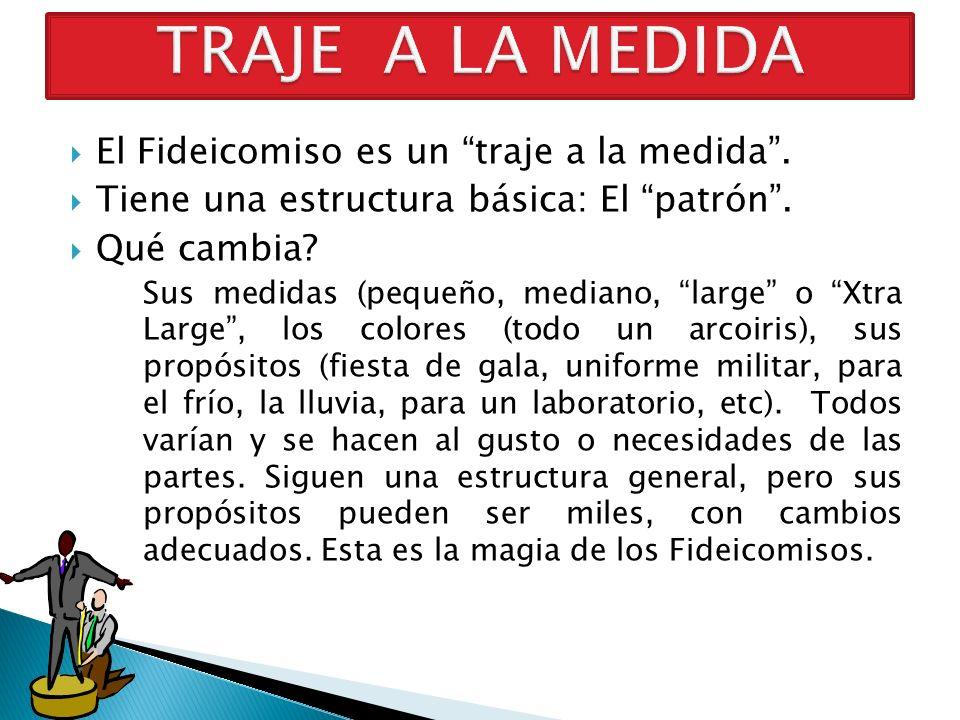 TRAJE A LA MEDIDA El Fideicomiso es un traje a la medida .