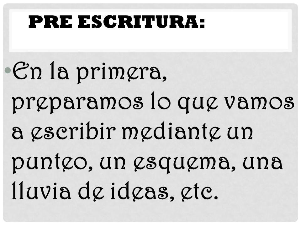 PRE ESCRITURA:En la primera, preparamos lo que vamos a escribir mediante un punteo, un esquema, una lluvia de ideas, etc.