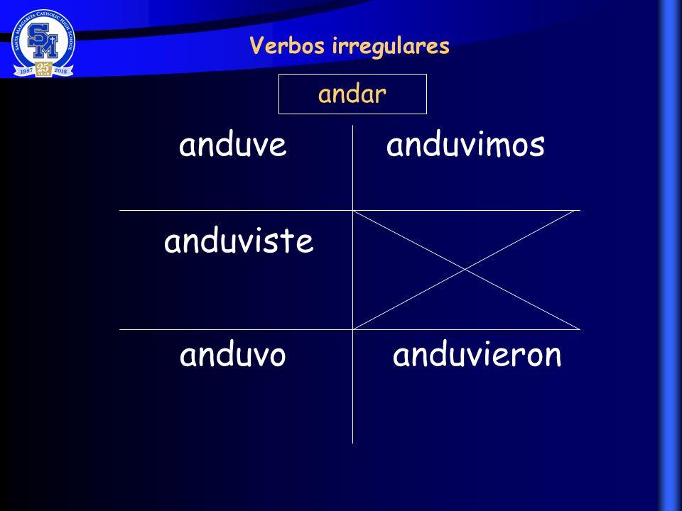Verbos irregulares andar anduve anduvimos anduviste anduvo anduvieron