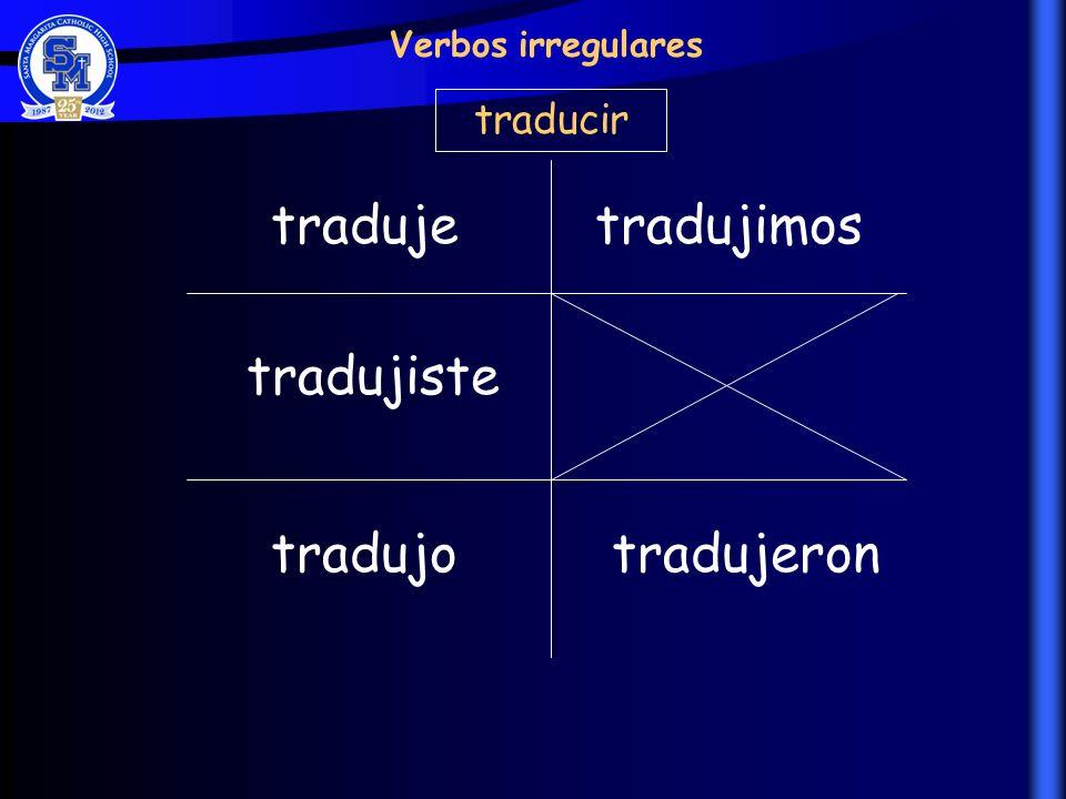 traduje tradujimos tradujiste tradujo tradujeron traducir